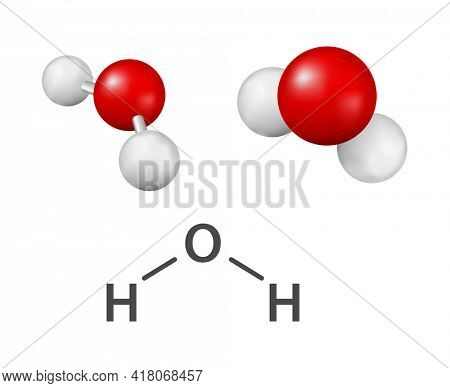h2o water molecule icon 3d illustration isolated on white background