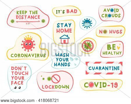 Coronavirus Covid-19 Letterings And Other Elements. Stay Home, Stop The Coronavirus, Stay Safe, Wash
