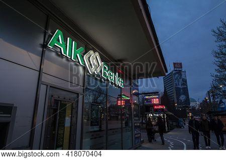 Belgrade, Serbia - February 10, 2019: Aik Banka Logo On Their Local Office In Belgrade. Aik Bank Is