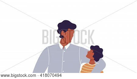 African Man Hugging His Son. Faceless Dad Together With Son. Father Talking To His Kid. Happy Family