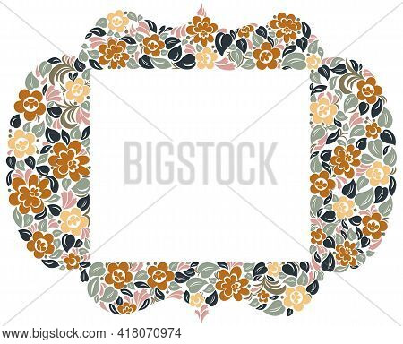 Decorative Blank Classic Style Border Vector Vintage Design, Floral Frame Made Of Leaves And Flowers