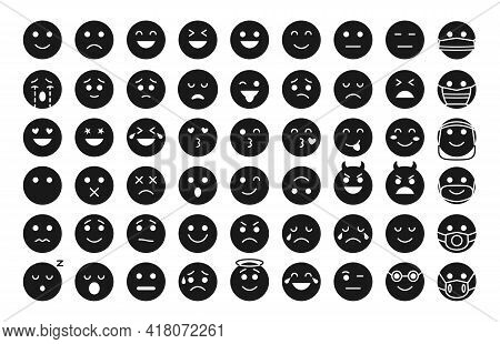 Emoji Face Black Glyph Icon Set. Different Type Emoticon Smile Silhouette Collection. Template Mood