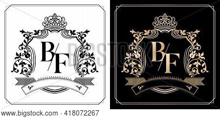 Bf Royal Emblem With Crown, Initial Letter And Graphic Name Frames Border Of Floral Designs With Two