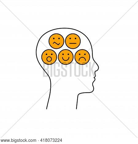 Different Mood Of Person. Angry, Unhappy, Happy, Neutral Mood. Psychology Icon. Psychiatry Logo Regu