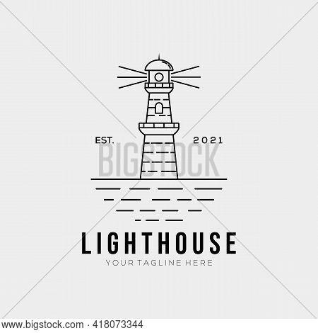 Simple Lighthouse Line Art Logo Template Logo Vector Illustration Design. Minimalist Harbor Outline