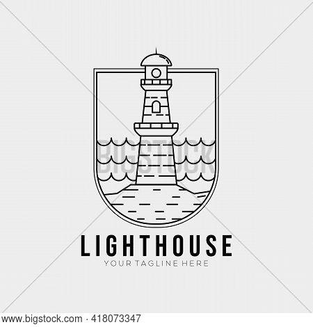 Minimalist Ocean Lighthouse Line Art Logo Template Vector Illustration Design. Simple Outline Tower