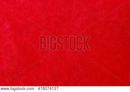 Texture Smooth Velvet Fabric Of Red Color Shine In The Sun