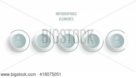 Business Infographic Thin Line Process With Circles Template Design With Icons And 5 Options Or Step