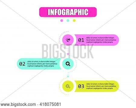 Concept Infographic Circles, Rectangles, Semicircles Come Together To Presents Three Steps. Vector D