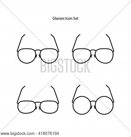 Glasses Icon Set Isolated On White Background. Glasses Icon Thin Line Outline Linear Glasses Symbol