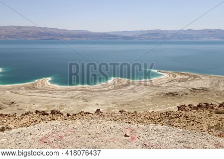 Salty Coast Of The Dead Sea In The South Of Israel. Dead Sea Texture. Seascape .