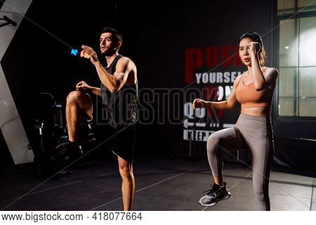 Sporty Couple Cardio Exercise Burning Calorie Hiit And Squat In Fitness Gym Fit Body Healthy Lifesty