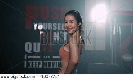 Portrait Of Asian Woman Smiling Exercise Workout In Gym Healthy Lifestyle Bodybuilding, Athlete Buil