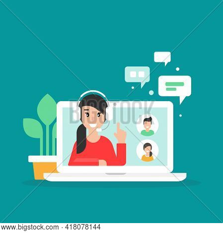 Webinar, Online Class, Remote Team Work Concept. Learn And Study Via Teleconference Or Video Course.