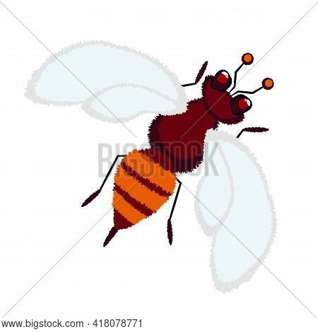 Bee, Wasp, Hornet, Bumblebee Flying, Cute Insect With A Fluffy Texture. Stock Vector Illustration Is