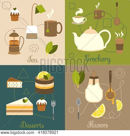 Tea Crockery Desserts Flavors Flat Set Isolated Vector Illustration