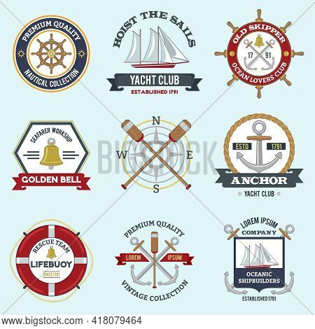 Nautical Labels Set With Premium Quality Seafarer Emblems Isolated Vector Illustration