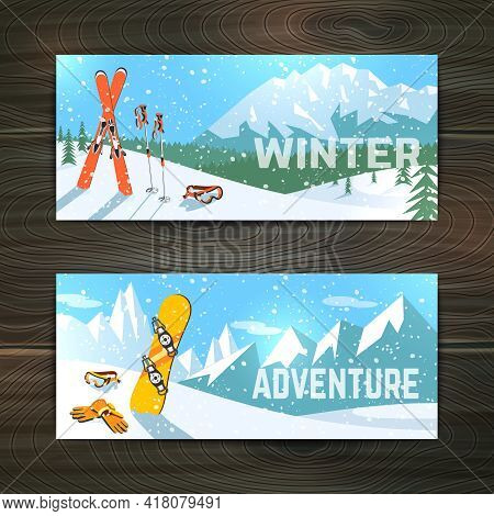 Winter  Holidays Alpine Skiing  Landscape With Goggles Gloves And Poles Horizontal Banners Set Abstr