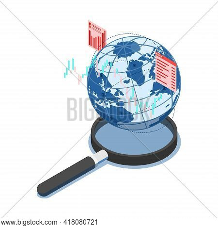 Flat 3d Isometric World With Financial Chart On Magnifying Glass. Global Business Research And Analy