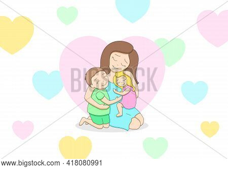 Loving Tender Mother With Two Cute Happy Children, Teenage Boy And Little Girl, Hugging Each Other,