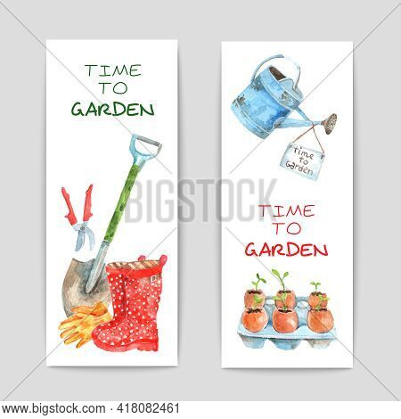 Gardening Watercolor Vertical Banners Set With Spade And Watering-can Isolated Vector Illustration
