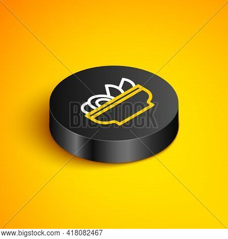 Isometric Line Nachos In Plate Icon Isolated On Yellow Background. Tortilla Chips Or Nachos Tortilla