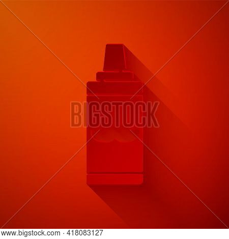 Paper Cut Shaving Gel Foam Icon Isolated On Red Background. Shaving Cream. Paper Art Style. Vector I