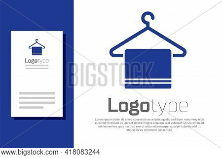 Blue Towel On A Hanger Icon Isolated On White Background. Bathroom Towel Icon. Logo Design Template