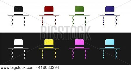 Set Orthodox Jewish Hat With Sidelocks Icon Isolated On Black And White Background. Jewish Men In Th
