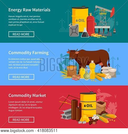 Commodity Flat Horizontal Banners Set With Energy Raw Materials Commodity Farming And  Commodity Mar