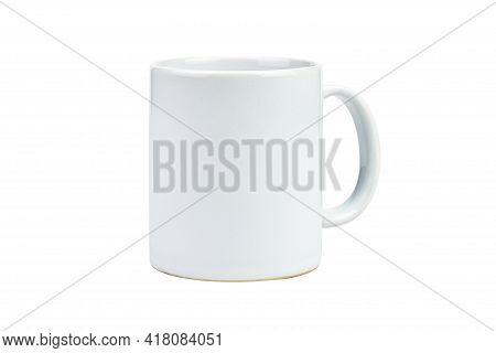 Clipping Path. Close Up Of White Mug Mockup(blank) Isolated On White Background. White Cup Mockup. C