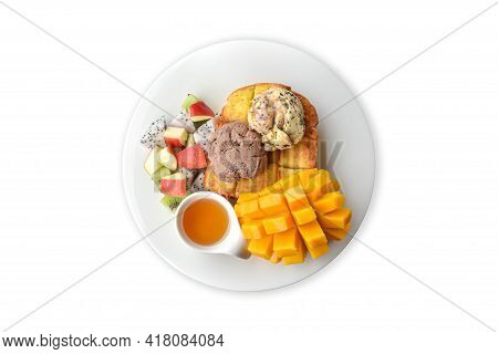 Clipping Path. Top View(flat Lay) Of Honey Toast Mango With Ice Cream Chocolate(chocolate Chip) Isol