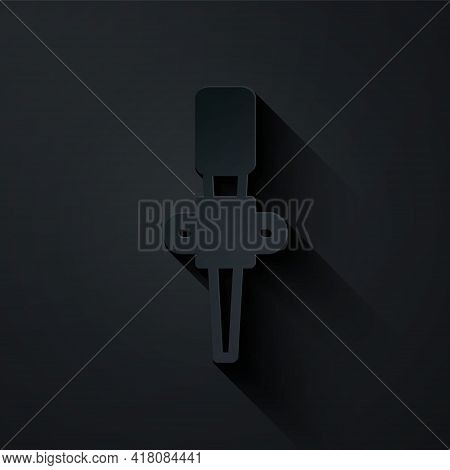 Paper Cut Torch Flame Icon Isolated On Black Background. Symbol Fire Hot, Flame Power, Flaming And H