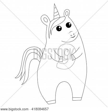 Cute Fairy Unicorn Holding Number 9 Nine, Coloring Book In Outline Style, Simple Flat Vector Illustr