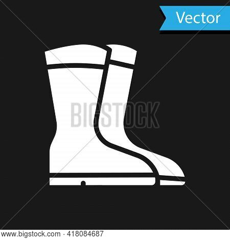 White Fishing Boots Icon Isolated On Black Background. Waterproof Rubber Boot. Gumboots For Rainy We