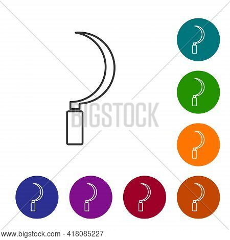 Black Line Sickle Icon Isolated On White Background. Reaping Hook Sign. Set Icons In Color Circle Bu