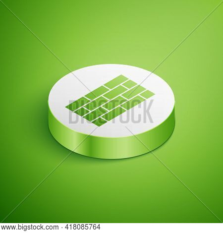Isometric Firewall, Security Wall Icon Isolated On Green Background. White Circle Button. Vector