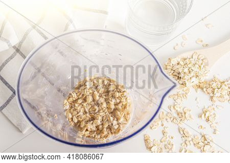 Step By Step Recipe. Cooking Oat Vegetable Milk. Step 2 Pour Oatmeal With Water In Blender. Homemade