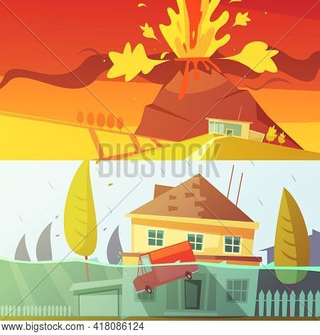 Color Cartoon Horizontal Banners Depicting Natural Disaster Flood And Volcano Disaster Vector Illust