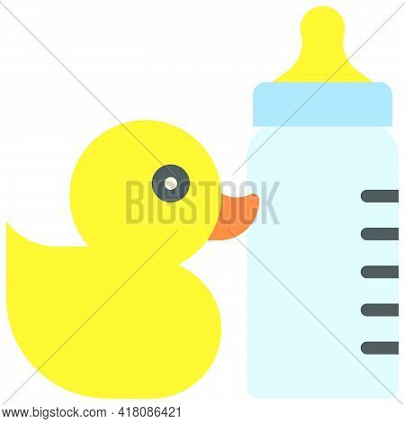 Rubber Duck And Baby Bottle Icon, Supermarket And Shopping Mall Related Vector Illustration