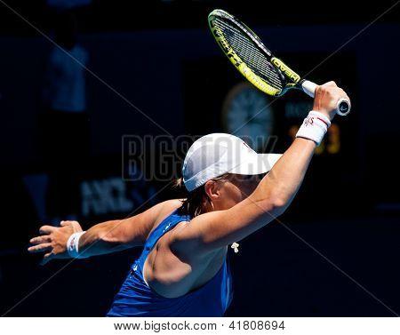 MELBOURNE - JANUARY 23: Svetlana Kuznetsova of Russia in her quarter final loss to Victoria Azarenka of Belarus   at the 2013 Australian Open on January 23, 2013 in Melbourne, Australia.