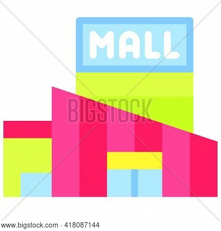 Shopping Mall Icon, Supermarket And Shopping Mall Related Vector Illustration