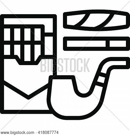 Cigarette Tobacco And Smoking Pipe Icon, Supermarket And Shopping Mall Related Vector Illustration