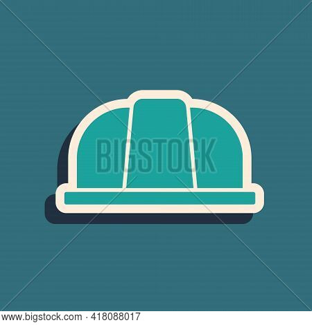Green Worker Safety Helmet Icon Isolated On Green Background. Insurance Concept. Security, Safety, P