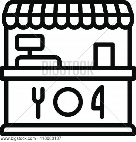 Food Booth Icon, Supermarket And Shopping Mall Related Vector Illustration