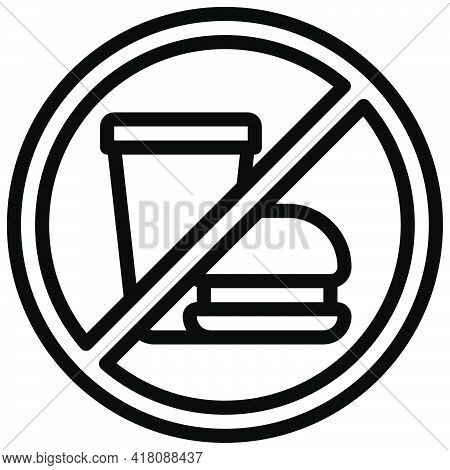 No Food Allowed Sign Icon, Supermarket And Shopping Mall Related Vector Illustration
