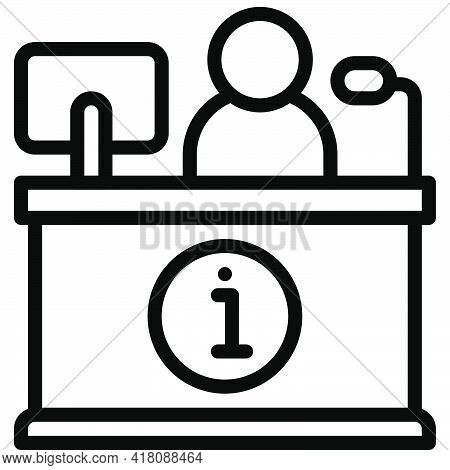 Help Desk Icon, Supermarket And Shopping Mall Related Vector Illustration