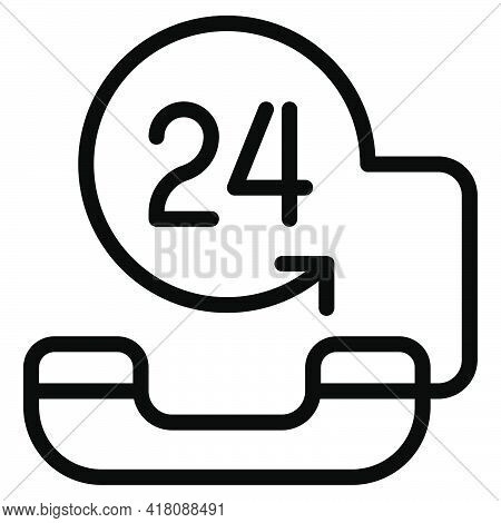 24 Hours Service Icon, Supermarket And Shopping Mall Related Vector Illustration