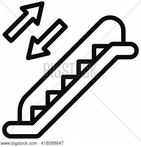 Escalator Icon, Supermarket And Shopping Mall Related Vector Illustration