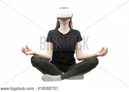 Girl Experiencing Virtual Reality Isolated On White Background. Woman In Vr Glasses Meditates.